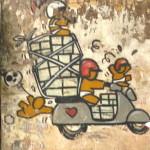 Vespa Graffiti auf Hauswand in Hanoi
