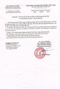 Einladungsschreiben Visa on arrival