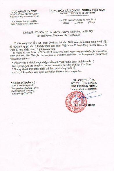 Visa on arrival Einladungsschreiben2